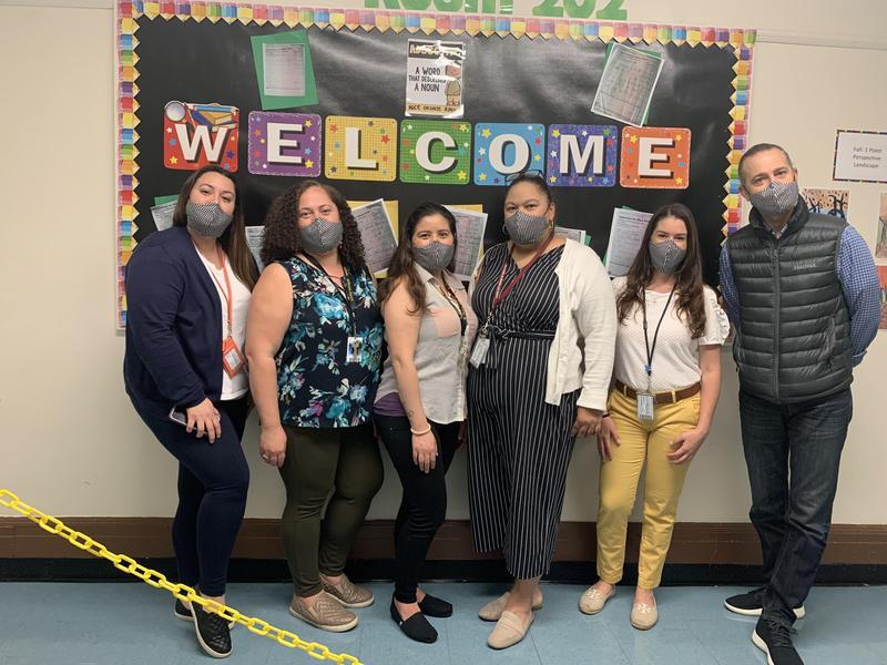 Teachers in matching masks