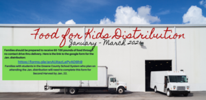 Food For Kids Jan. - March Distribution Schedule