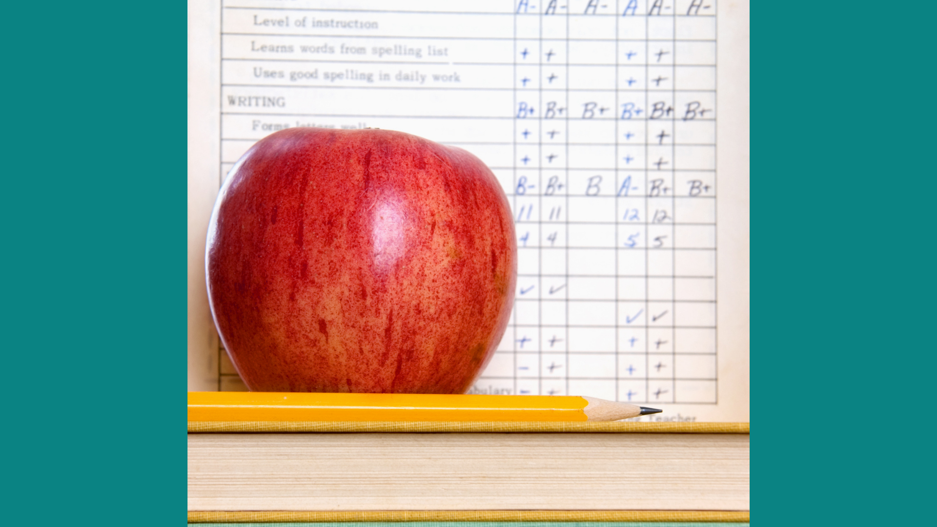 Report Card with an apple and a pencil