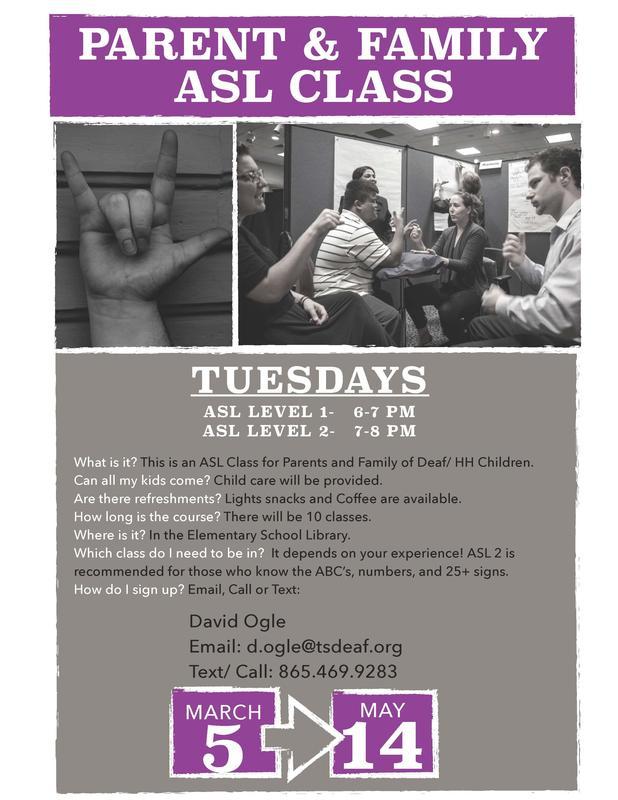 Parent & Family ASL Class Flyer