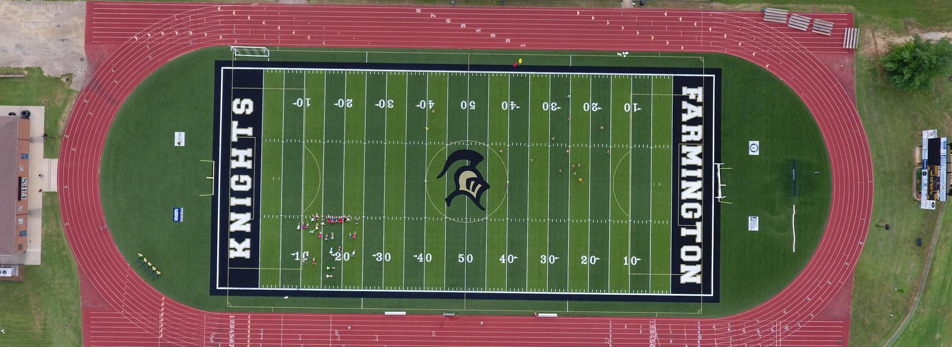 skyview of football field