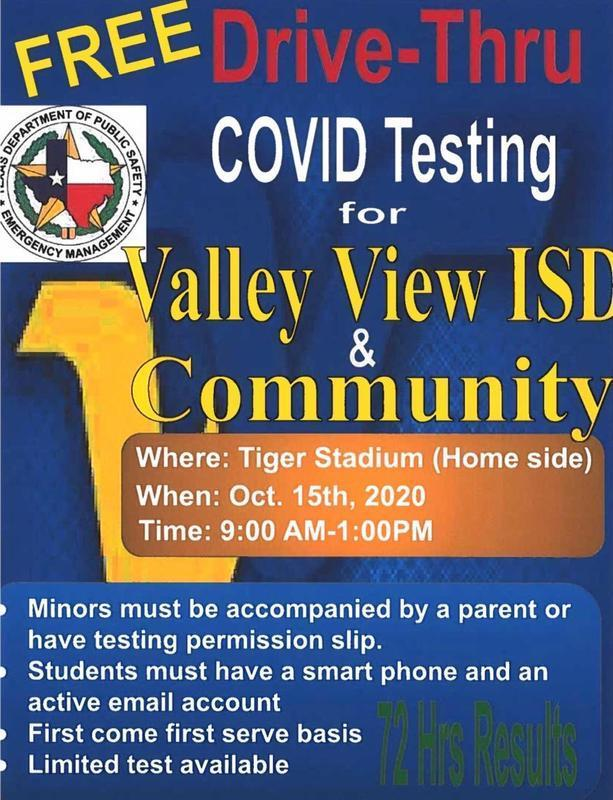 Free Drive-Thru COVID testing for Valley VIEW ISD & Community Thumbnail Image