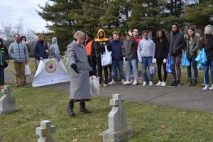 The OLSH Love Walk for the Poor stopped at the grave site of Sr. Louise, founder of the Walk