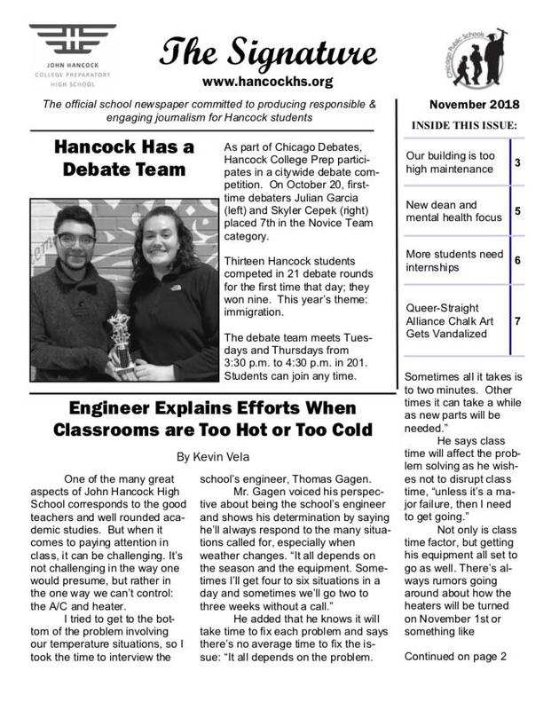 The front page of November's issue of the school paper