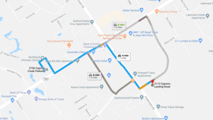 Directions from original location to the new location.