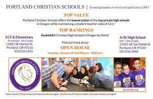 Photographs of groups of students.  Flyer for Portland Christian Schools' Open House for preschool through grade 12.  January 29, 2019 from 6:00 - 8:00 pm.