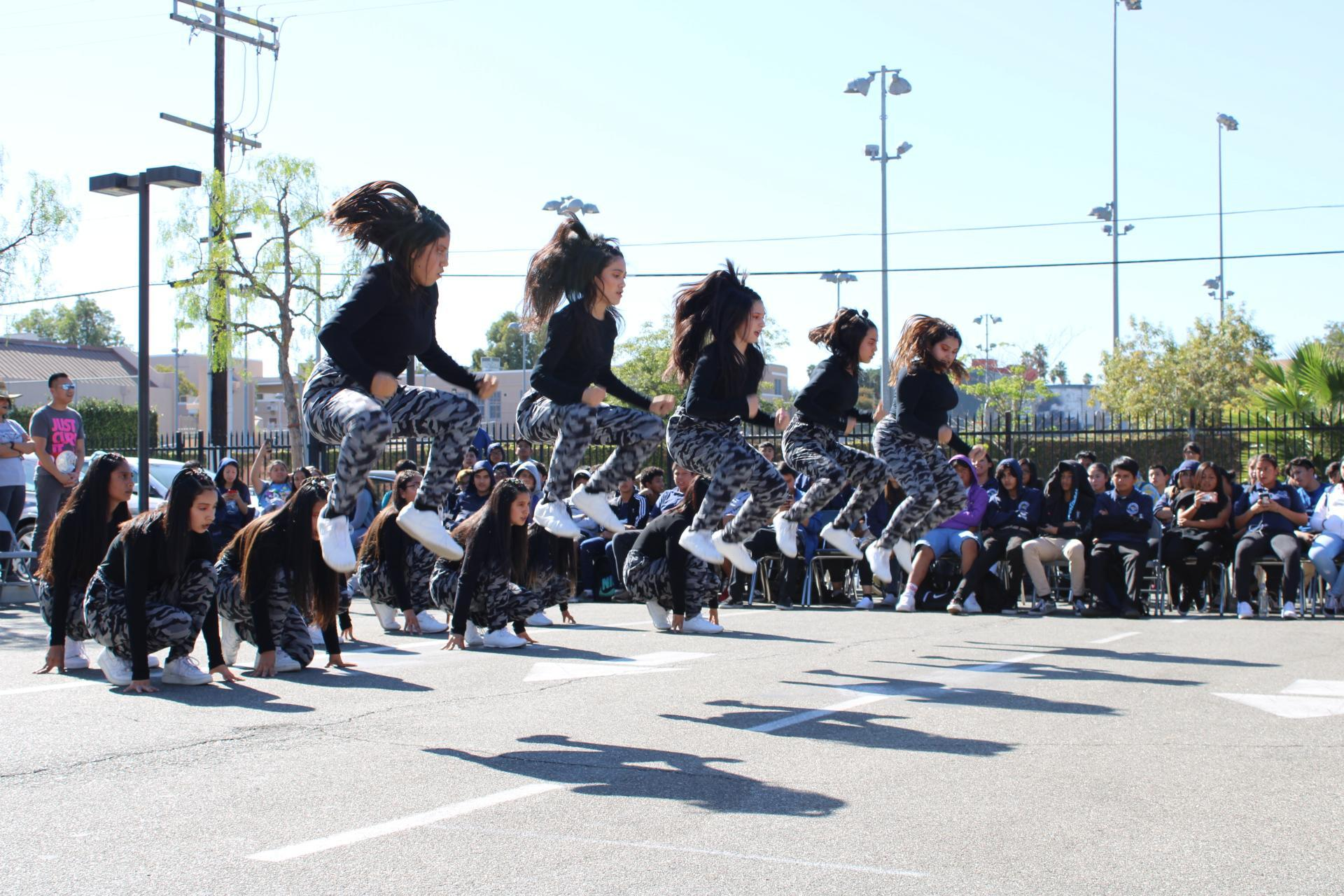 2019-2020 Dance/Cheer Team performing at the Central City Value Pep Rally