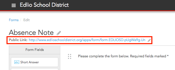 public link on your form
