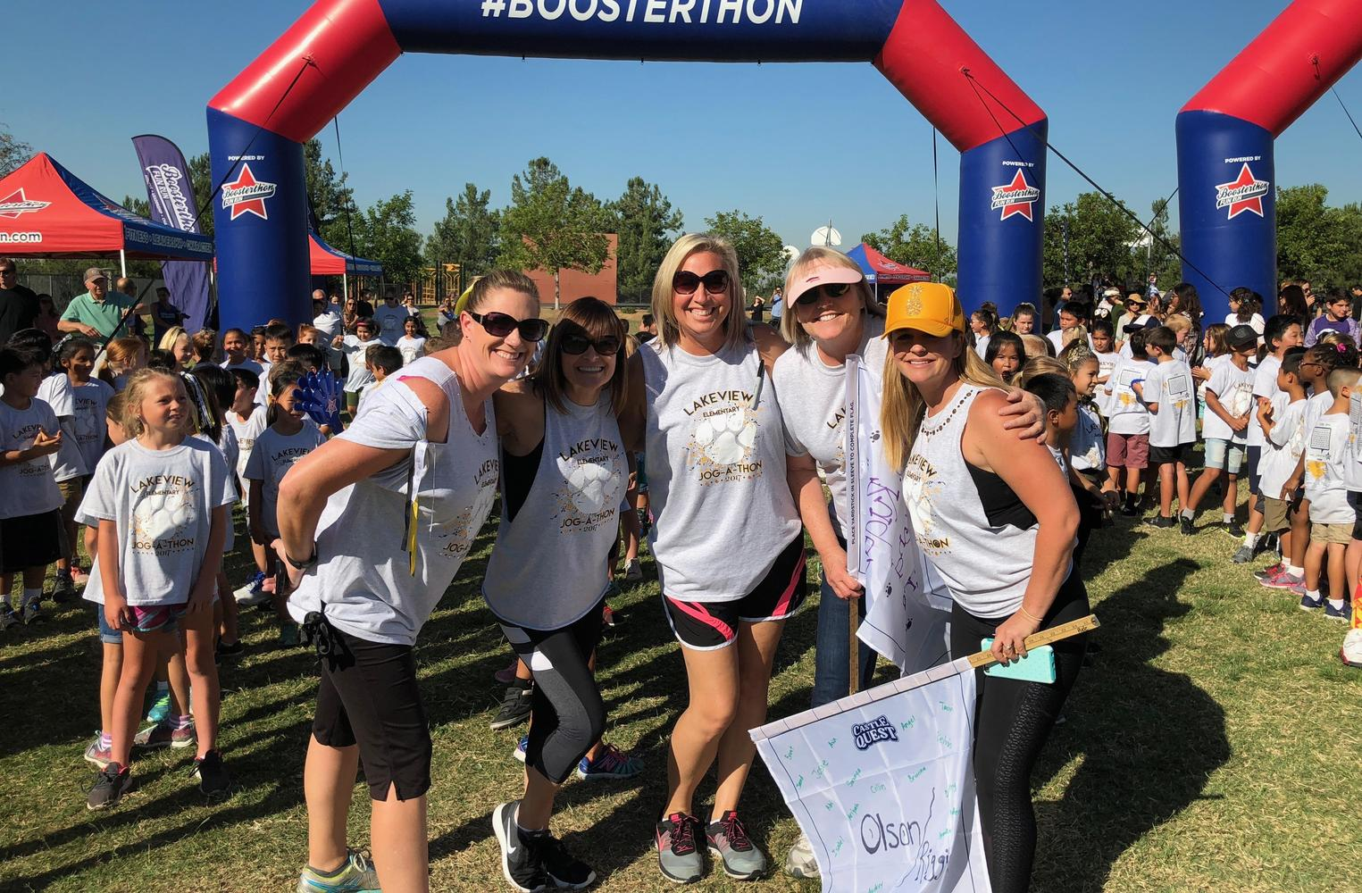 Teachers enjoying jog-a-thon