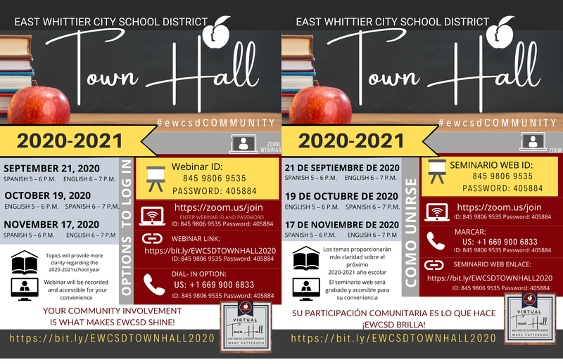 Screenshot of virtual Town Hall flyers.