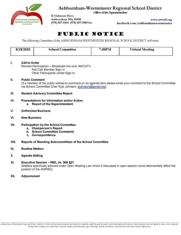 School Committee Meeting 8/18/2020 Featured Photo