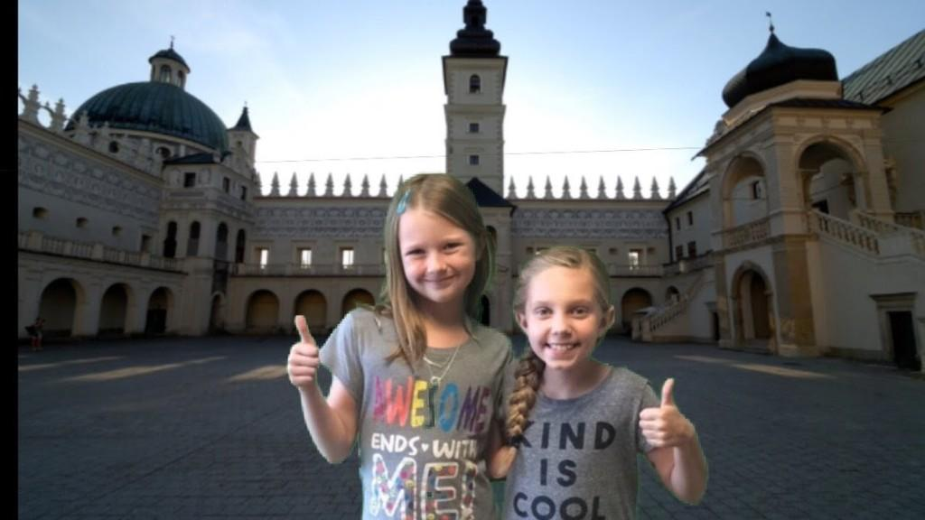 Two students in front of a castle