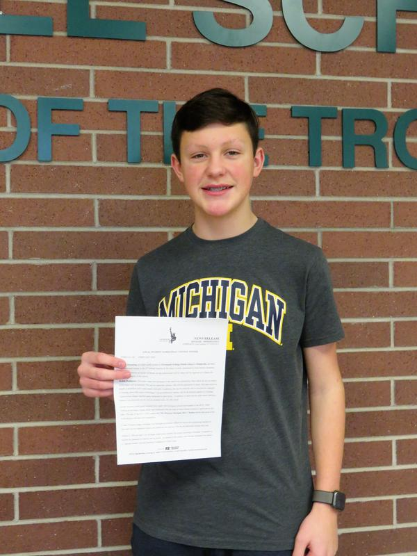TKMS 8th grader Kaden Hamming  was named the local winner in the America and Me essay contest.