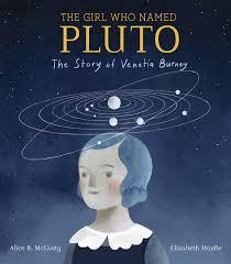 dark cover with girl from long ago with planets above her head