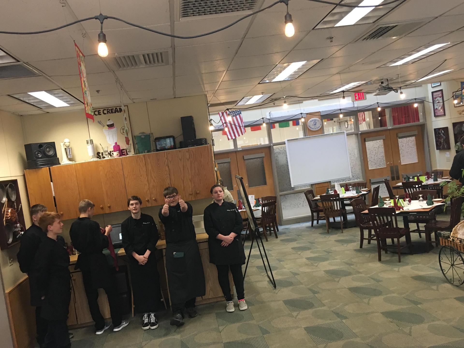 Restaurant staff lined up for duty