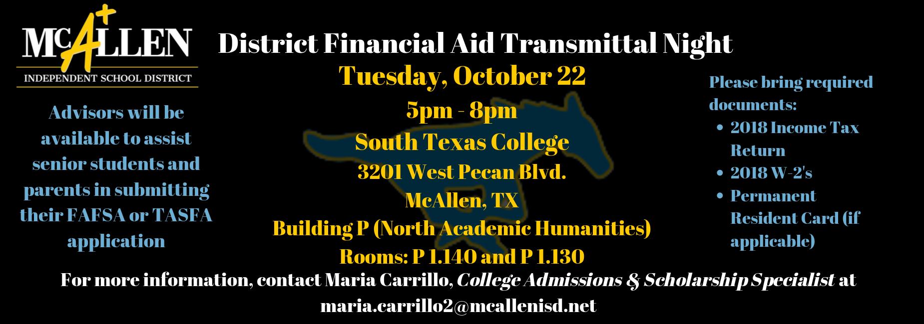 McAllen ISD financial aid transmittal information