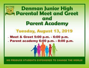 Denman Junior High School Parental Meet and Greet and Parent Academy 2019
