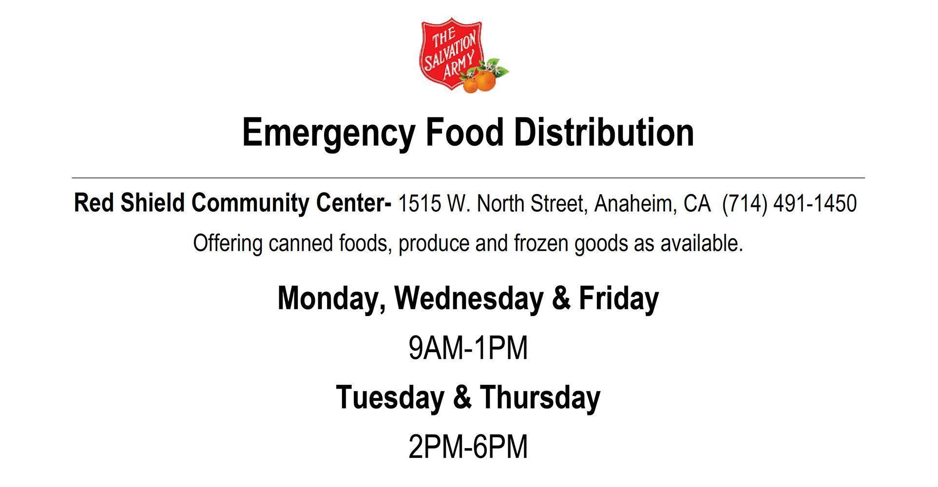 Emergency Food Distribution Information