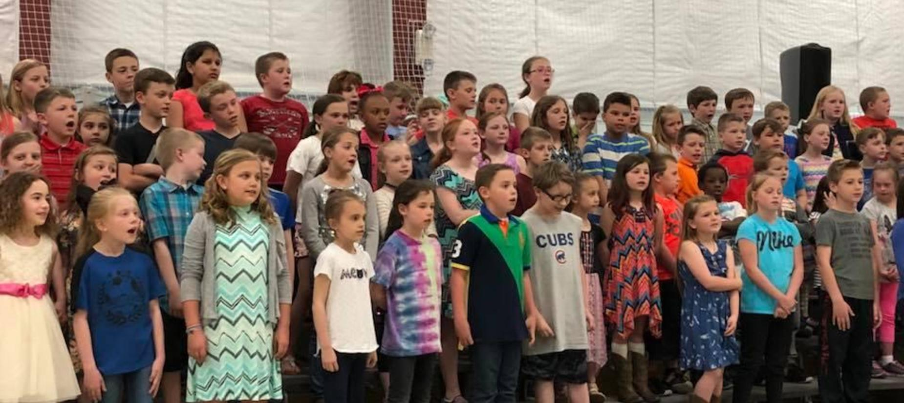 Carlinville Primary School students participating in a concert
