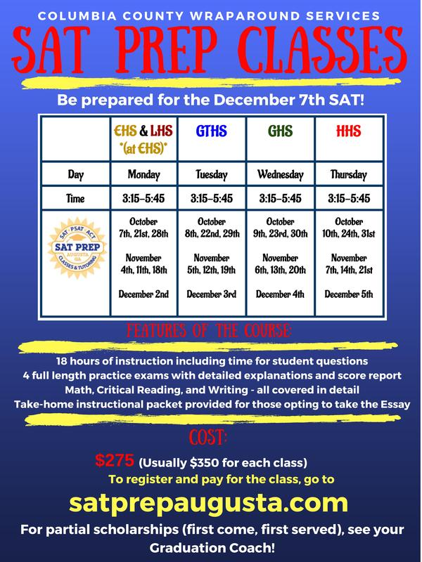 SAT Prep information for fall classes