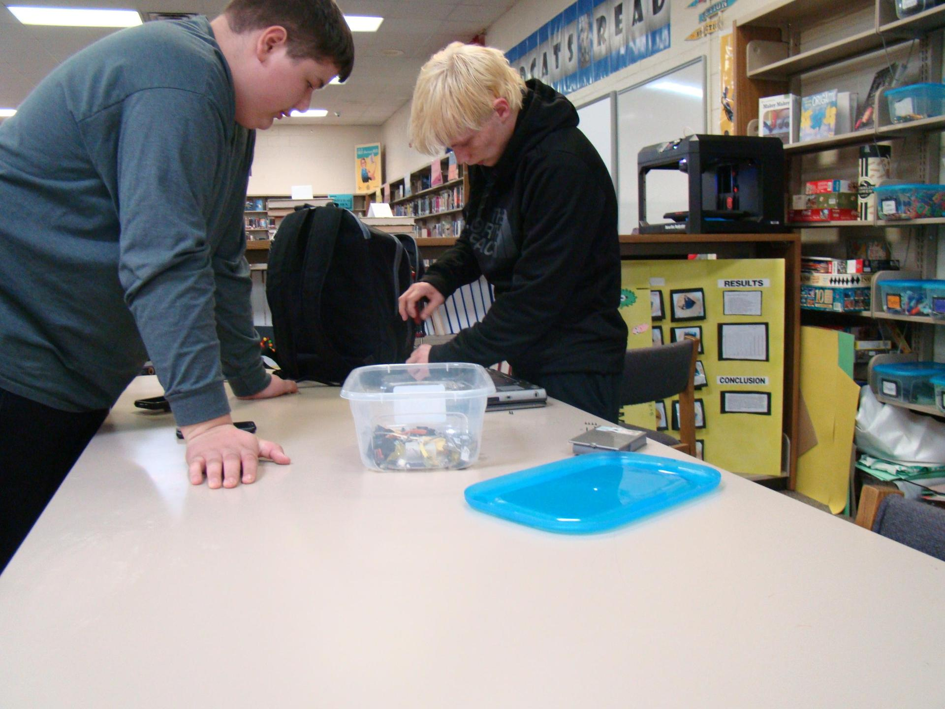 boys working in the makerspace