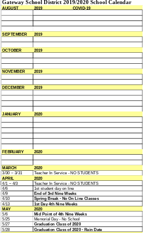 Updated School Calendar 19/20 Thumbnail Image