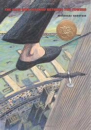 a foot on a tightrope with the view of skyscrapers, highways, water from above
