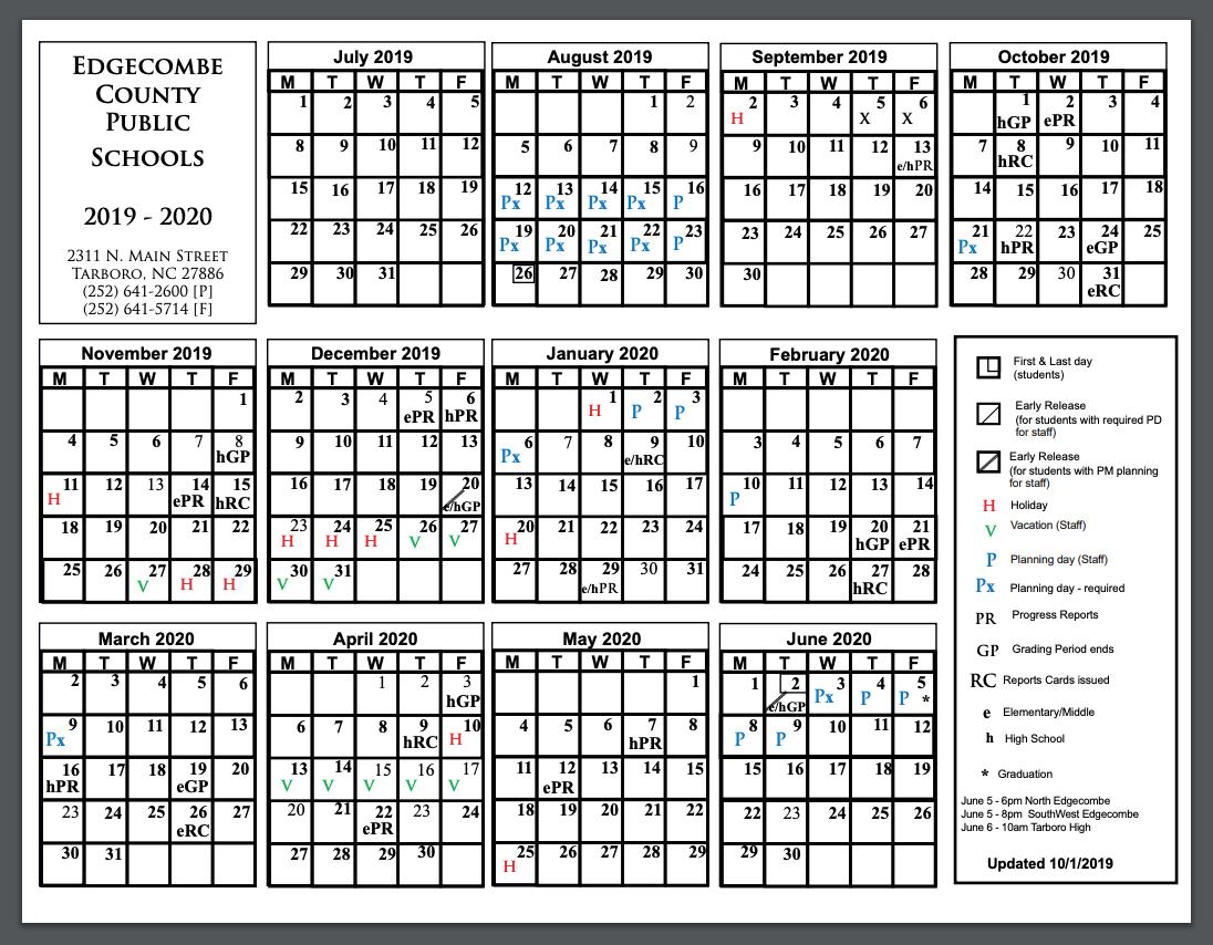 Edgecombe County Public Schools 2019-2020 Traditional Calendar (Amended 10/1/19)