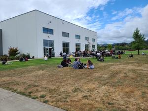 Kids eating outside during lunch