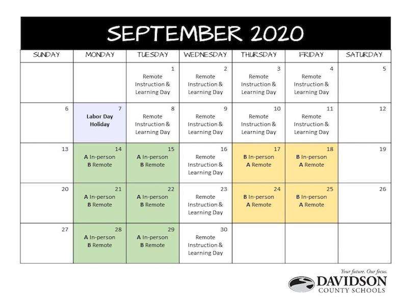 September A Day/B Day Schedule