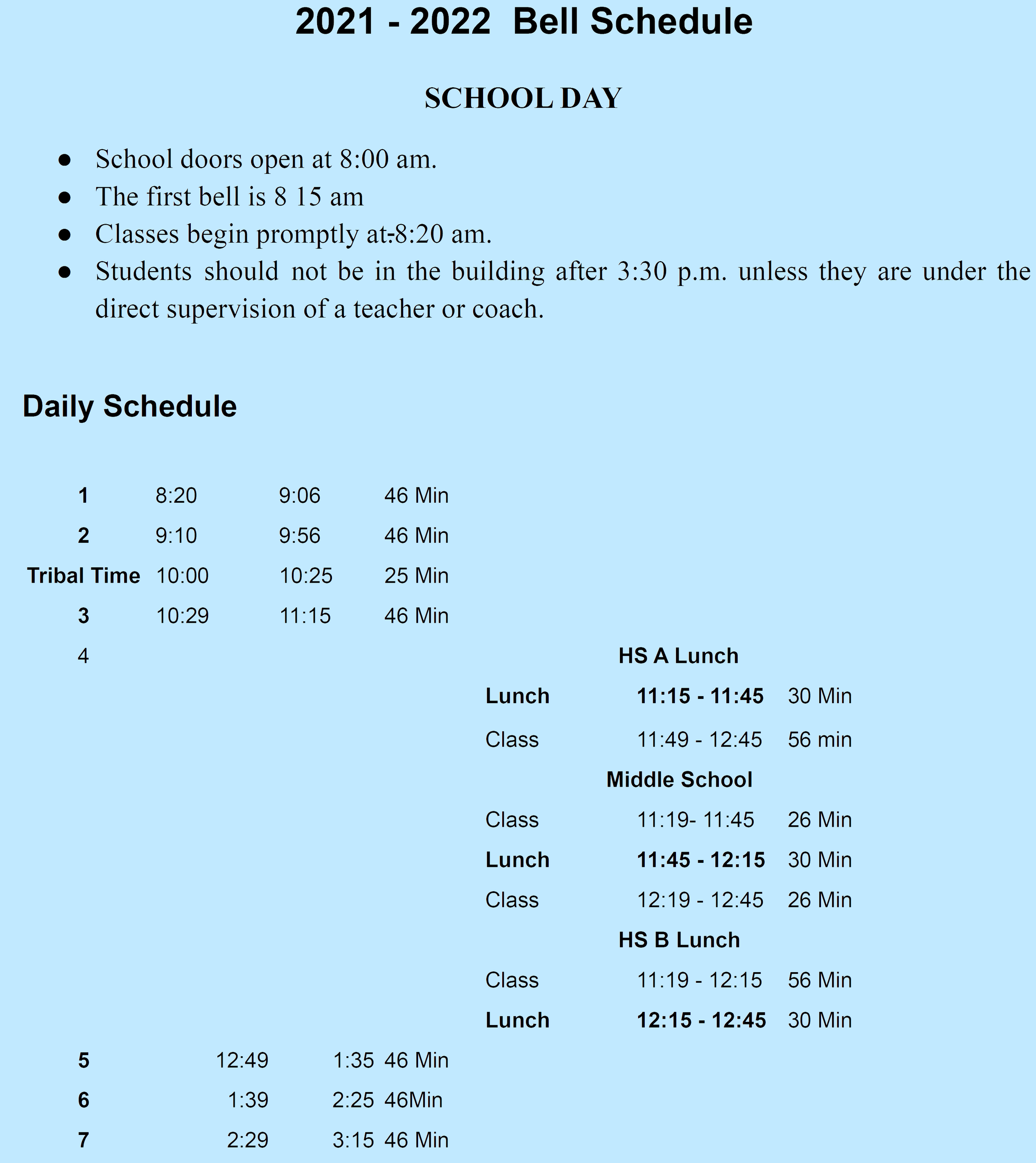 UCJSHS Daily Bell Schedule