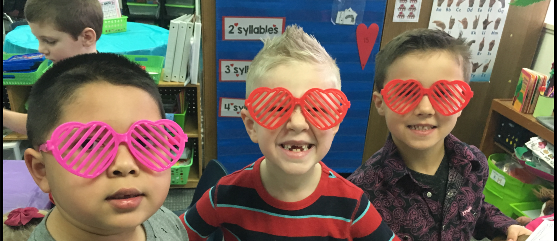 students wearing silly glasses