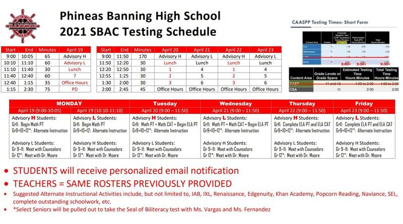 SBAC Testing Schedule for the week of April 19 - April 23, 2021 Featured Photo