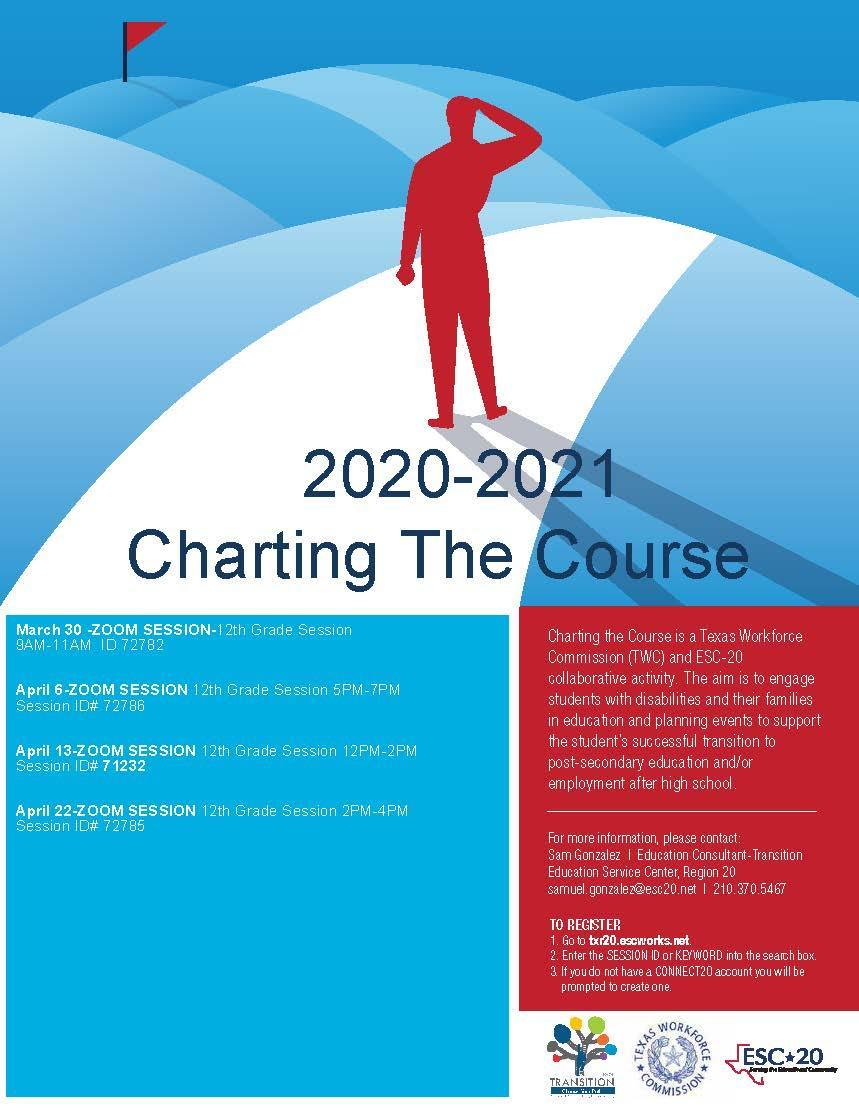 Charting the Course flyer - Spring 2021 sessions