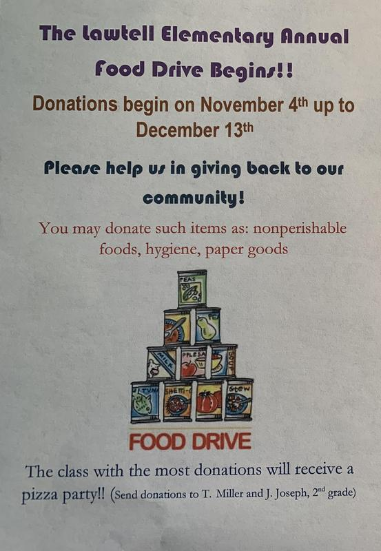 Food Drive: Donations begin on November 4th up to December 13, 2019