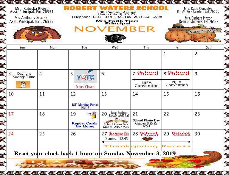 November Calendar English