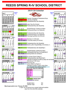 Picture of school year calendar