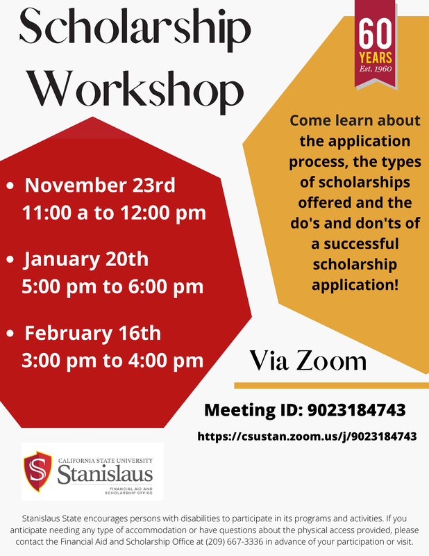 CSU Stanislaus Scholarship Workshop Featured Photo