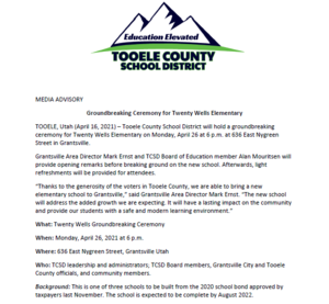 Tooele County School District will hold a groundbreaking ceremony for Twenty Wells Elementary on Monday, April 26 at 6 p.m. at 636 East Nygreen Street in Grantsville.