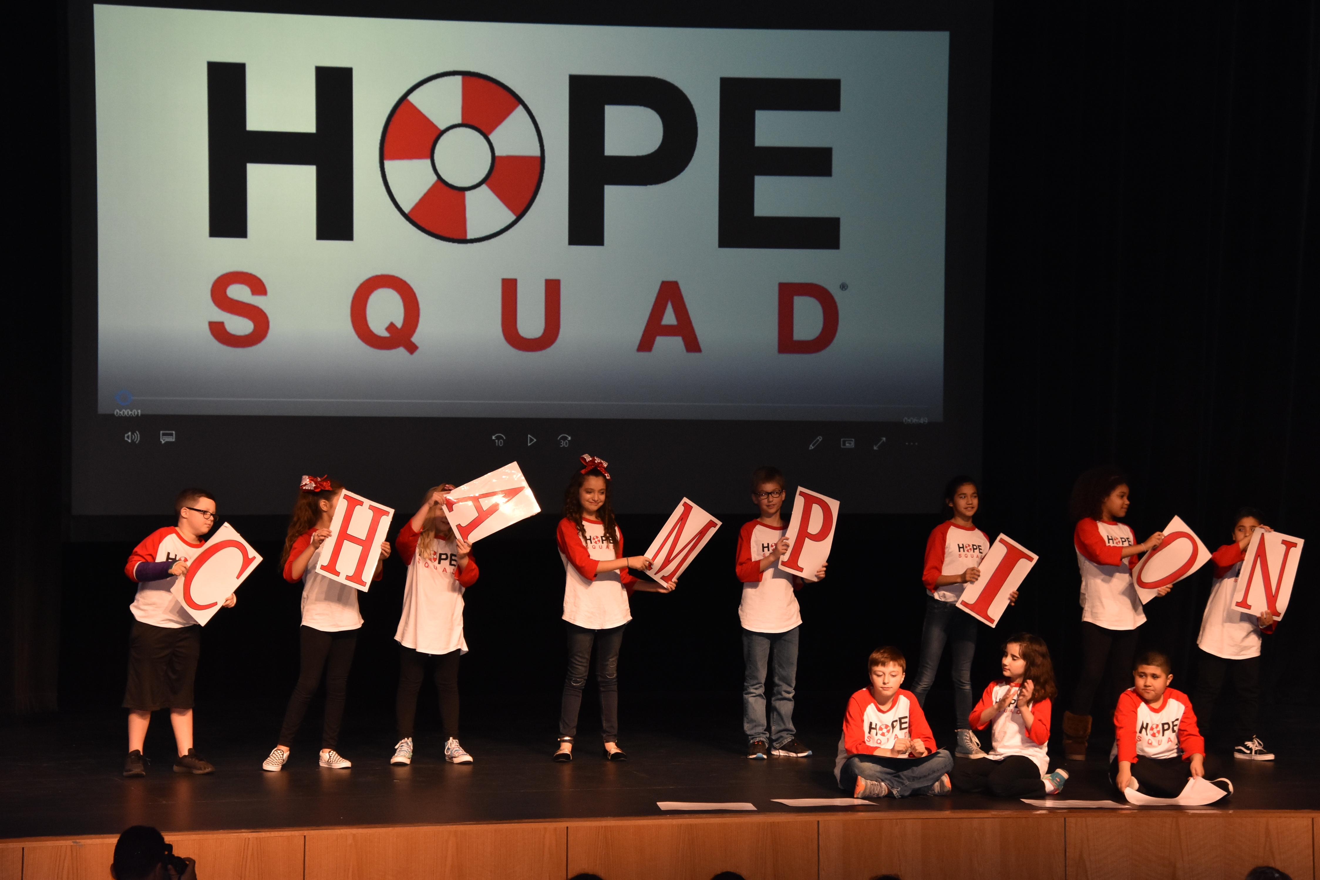 "North Elementary HOPE Squad performs to ""Champion."""