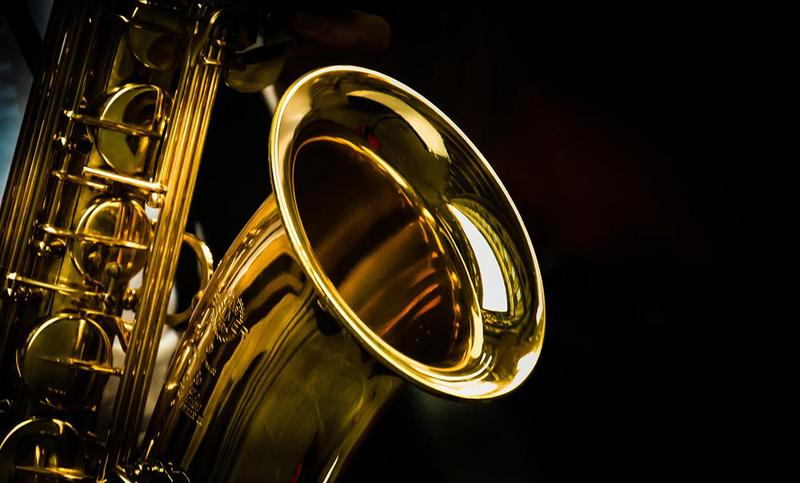 Closeup of a saxophone