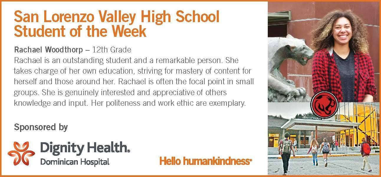 student of the week rachael woodthorp 12th grade