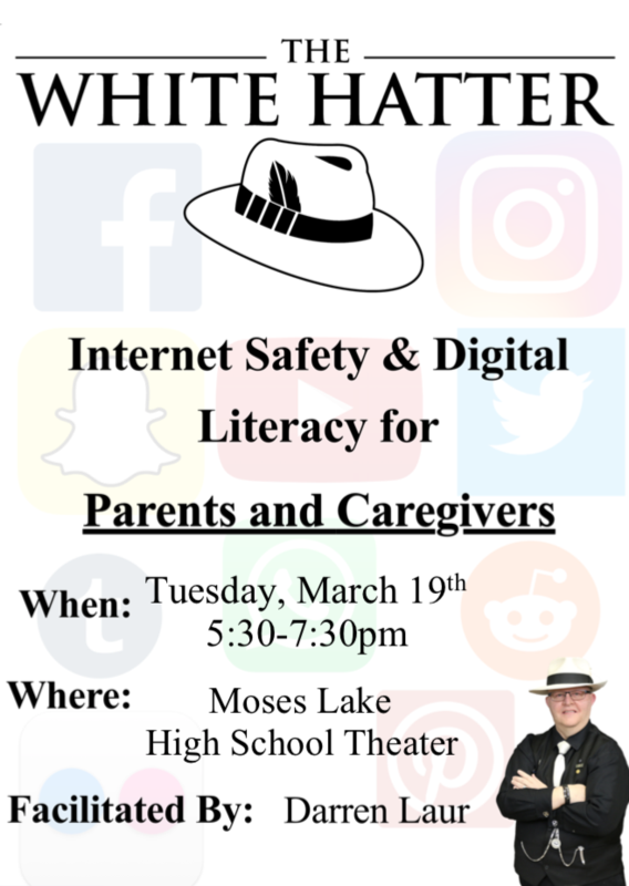 The White Hatter flyer. Internet Safety and Digital Literacy for Parents and Caregivers
