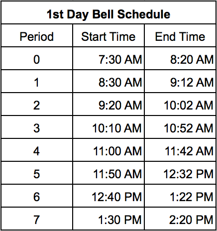 First Day Bell Schedule Image