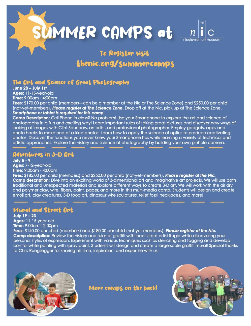 Nicolaysen Art Museum Summer Camps flyer