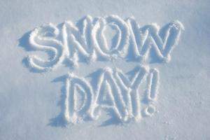 Snow day written in snow