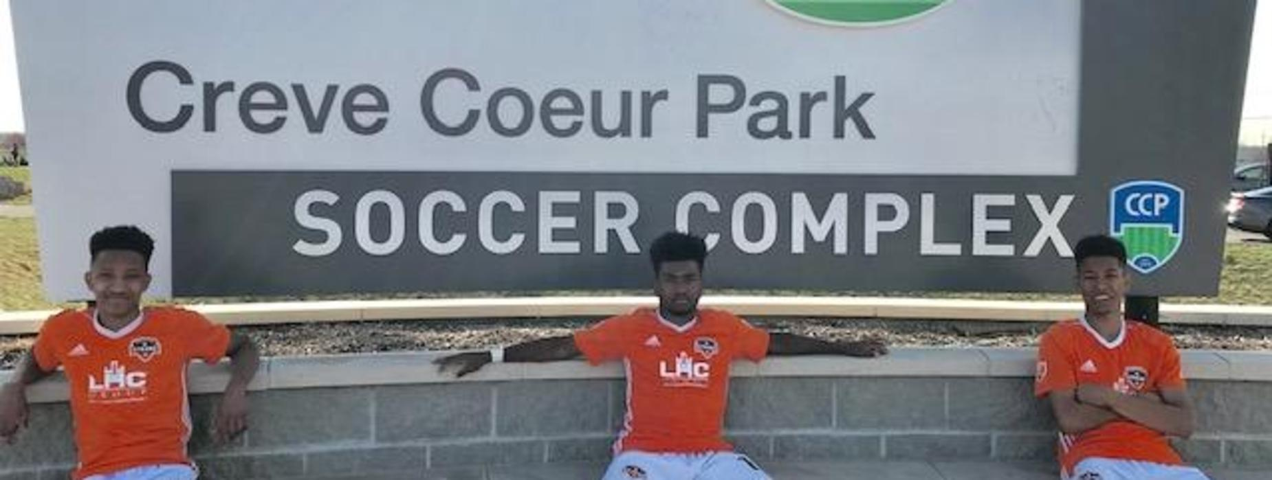 Devin Auzenne, Adrian Eaglin and Alexander Auzenne competed with Dynamo Junior Soccer Club in St. Louis, Missouri.