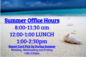 summer image with summer hours