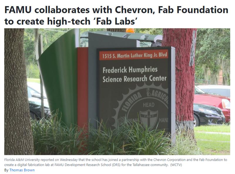 FAMU, Chevron Corporation, and Fab Foundation create Fab Labs at FAMU DRS Featured Photo