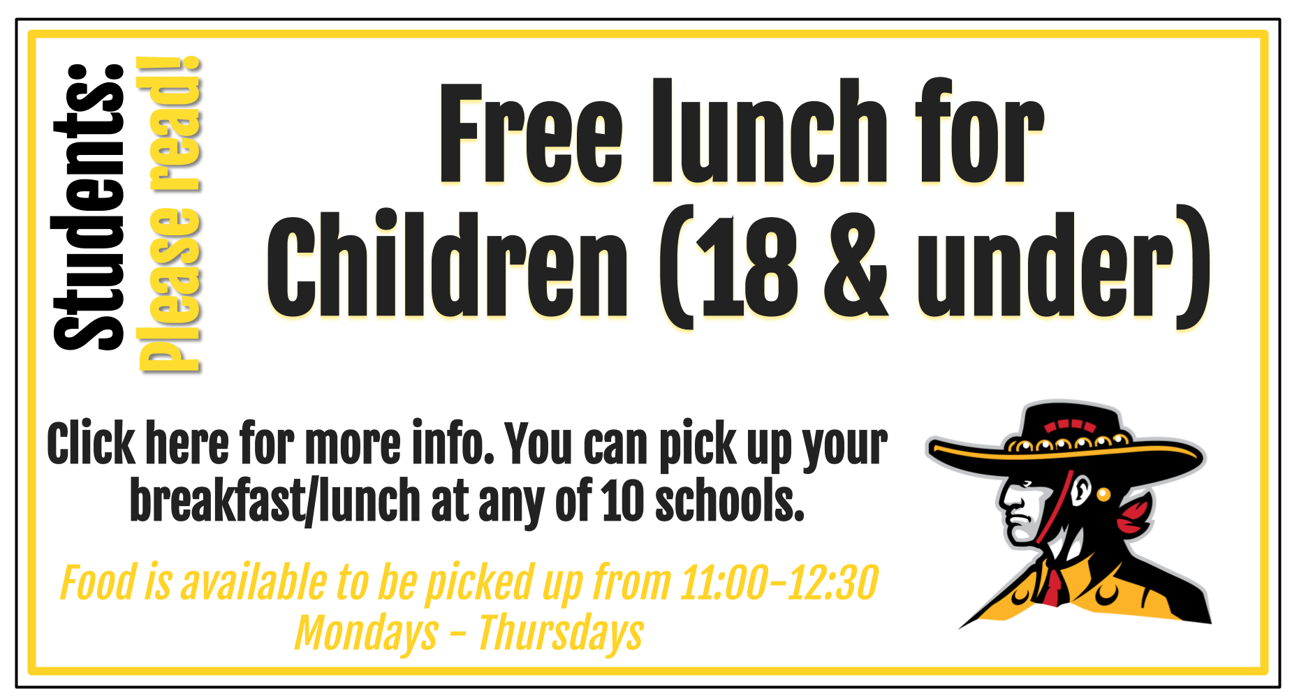 Free lunch 11-12:30pm